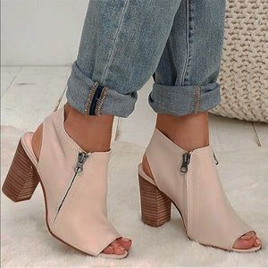 Blush Tan Block Heel Leather Booties